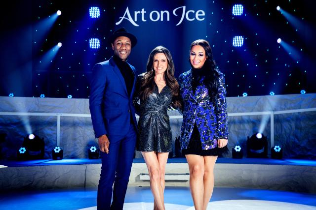Art on Ice 2020 v. l. Aloe Blacc, Moderatorin Viola Tami und Rebecca Ferguson
